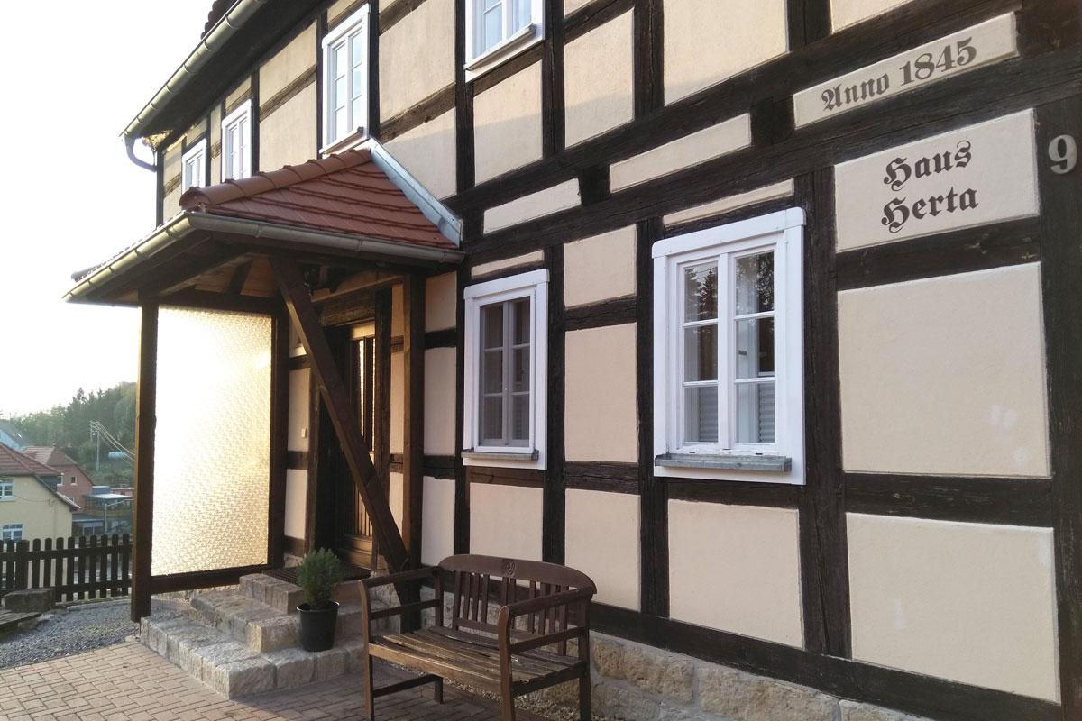 Eingang Ferienhaus Herta in Rathmannsdorf